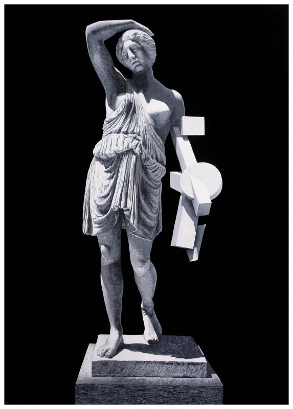 "Daniel Arsham, Figure (Greek Studies), 2010, © galerie Perrotin -d'après une sculpture en marbre dite ""l'Amazone blessée"", I-IIe siècle, MET museum."