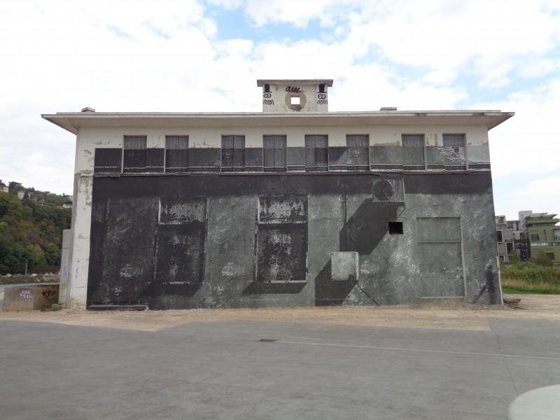 Thibault Brunet, dans le cadre de l'exposition Passage, façade de l'ancienne Capitainerie du port Rambaud, Lyon